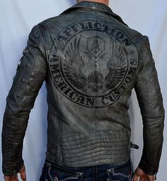 Affliction American Customs REBORN Men's Leather Jacket -10OW464 - Gunmetal in Clothing, Shoes & Accessories, Men's Clothing, Coats & Jackets | eBay