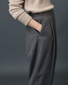 TOAST | Very tapered, ankle-skimming, pleat-front trousers in a soft, slouchy wool blend flannel