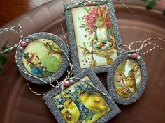 lisa pace lovelies!  check my printables board  http://pinterest.com/craftstomake/printable-crafts/ & --> http://lisapace.com/2010/03/vintage-postcard-easter-ornaments/