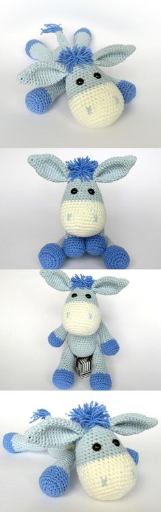 Found at Amigurumipatterns.net. Crochet donkey. (Pattern available to purchase).