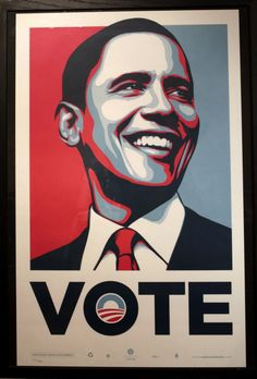 Shepard Fairey posters for Barack Obama