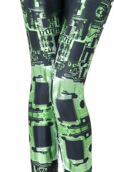 Circuit Board Green Leggings - LIMITED