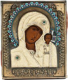 32 x 26,5 cm. Das Oklad punziert: 84 Zolotnik, Moskauer Beschau, kyrillische Meistermarke. Russland. Halbfigurige Darstellung der Gottesmutter von Kazan mit dem...