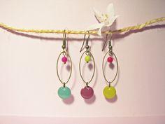 Boucles d'Oreille en bronze, Sequin Emaillé Tilleul, Mauve, Turquoise Shabby Chic Jewelry, Cute Jewelry, Boho Jewelry, Wedding Jewelry, Beaded Jewelry, Jewelry Necklaces, Jewelry Design, Jewellery, Diy Jewelry Inspiration