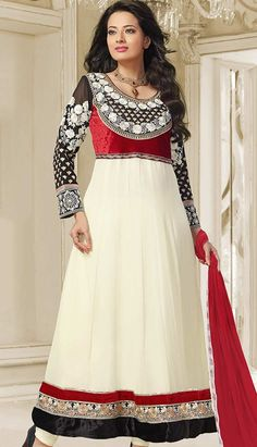 Buy Latest Bollywood Latest White Georgette Anarkali Dresses  #AnarkaliDresses Link- http://alturl.com/ytj5r