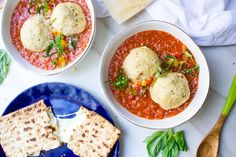 Matzo Ball Tomato Soup with Mozzarella Stuffed Matzo Balls and Matzo Grilled Cheese