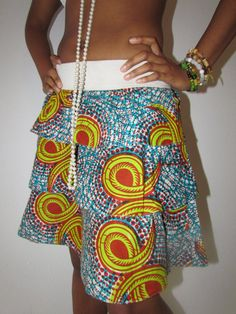 African Print Three Layer Skirt by ifenkili on Etsy, $30.00