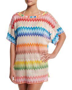 Zigzag-Print Short-Sleeve Tunic Coverup, Multi, Women's, Size: 44/10 - Missoni Mare