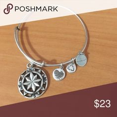 """Alex and Ani Bracelet A nautical """"Compass"""" piece, representing objective, direction, and transition. Pristine condition, pairs well with other accessories for a trendy look. Alex & Ani Jewelry Bracelets"""