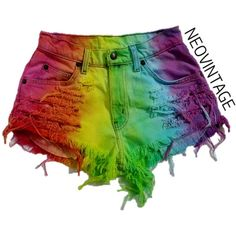 High Waisted Rainbow Colorful Tie Dyed Hipster Festival Fringed Denim... ($28) ❤ liked on Polyvore featuring shorts, bottoms, grey, women's clothing, studded high waisted shorts, grey shorts, tie-dye denim shorts, high rise jean shorts and hipster high waisted shorts