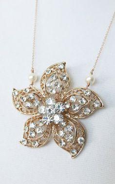Rose Gold Luxe Sakura Flower Crystal Pendant