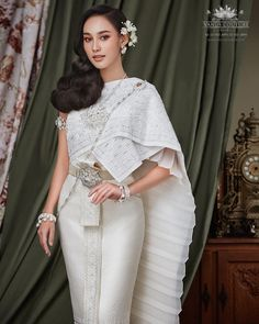Traditional Thai wedding dress credit Vanus Couture model Now Tisanart Cambodian Wedding Dress, Thai Wedding Dress, Perfect Wedding Dress, White Wedding Dresses, Bridal Dresses, Girls Dresses, Traditional Thai Clothing, Traditional Outfits, Dress Outfits