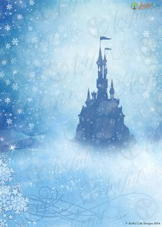 Princess Frozen Castle Photo Backdrop Frozen by ArtfulLifeDesigns, Also available with Happy Birthday customization for your child! Love this for a Frozen Inspired Party or Event!