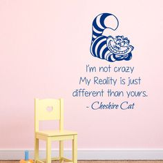 Alice In Wonderland Wall Decals Quotes Cheshire Cat I Am Not Crazy Home Vinyl Decal Sticker Mural Kids Nursery Baby Room Bedding Decor kk823 by DecalMyHappyShop on Etsy