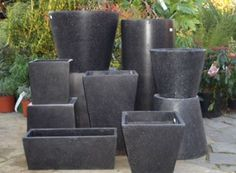 Outdoor Pottery Pots for Plants Pair of tall black ceramic plant
