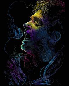 l FOTO Ilustración Digital. #GustavoCerati Créditos: Fialls DadArts… Soda Stereo, Image Rock, Rock Argentino, Estilo Rock, Cultura Pop, Drawing For Kids, Cool Wallpaper, Easy Drawings, Music Is Life