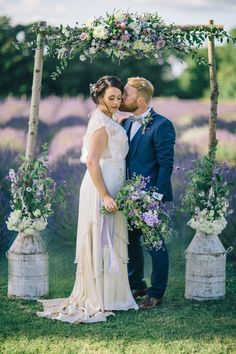 Rustic Floral Arch inspiration from a Romantic and Provençal Inspired Lavender Wedding Shoot | Photography by http://www.ashleyedwardsphotography.co.uk/