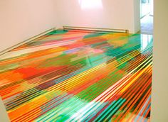 These twisted pieces are by German painter Markus Linnenbrick. He's known for making mind-bending stripe installations in hallways and rooms.
