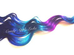 Hair Extensions Blue Galaxy Clip in Rainbow by CandyAppleLocks