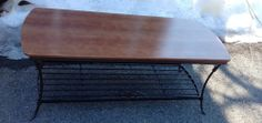 GENUINE RETIRED LONGABERGER WROUGHT IRON COFFEE TABLE WOOD TOP