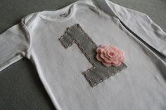 Girls First Birthday Onesie with Embroidered Gray 1 and Pink Stacked Felt Flower, 1st Birthday Bodysuit