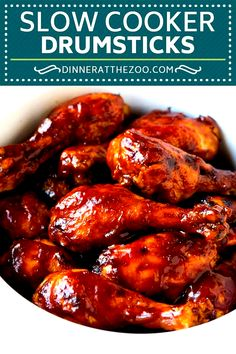 Slow Cooker Chicken Drumsticks - Abendessen im Zoo - Cuisine Chicken Leg Slow Cooker, Chicken Drumsticks Slow Cooker, Crock Pot Slow Cooker, Slow Cooker Recipes, Crockpot Bbq Chicken, Crock Pot Drumsticks, Crockpot Bbq Wings Recipe, Potatoes Crockpot, Crockpot Meals