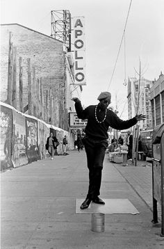 "125TH STREET, HARLEM, NY. May, 1993 - This fellow calls himself ""Dancing Harry."" He can usually be found near the world famous Apollo Theater making his moves on a slick board to the sounds of Soul Brother #1 James Brown."