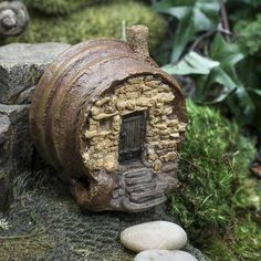 Fairy Garden Barrel Cottage - Miniatures - View All - Dollhouse Miniatures - Doll Making Supplies - Craft Supplies