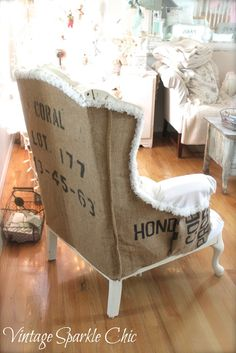 Vintage Sparkle Chic: Shabby Chair redo with burlap grain sack - check out this amazing chair makeover...holy cow!