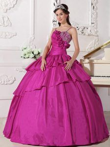 Fuchsia Spaghetti Straps Dresses for Quinceanera with Beading and Flowers