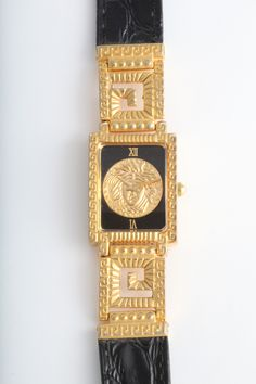 Gianni Versace Gold and Black Medusa Watch With Greca image 3