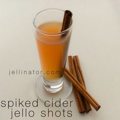 Knox gelatin ½ cup rum ¼ cup cinnamon schnapps ¼ cup apple schnapps Dissolve gelatin in cider over low heat. Use your Jellinator to fill your cups- no mess, no stress! Chill until set. Fireball Jello Shots, Fireball Whiskey, Jello Shot Recipes, Party Recipes, Halloween Jello Shots, Spiked Cider, Apple Pie Moonshine