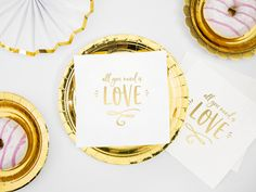 All You Need Is Love Paper Napkins, Paper Gold Decorations Tableware, Wedding Valentines Engaged Hen Party Gifts Balloon Arch, Balloon Garland, The Balloon, Hen Party Gifts, Rose Garland, Baby Shower Decorations, Gold Decorations, Gold Balloons, Botanical Wedding