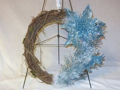 Blue Poinsettia Grapevine Wreath by MomsDownTime on Etsy, $35.00
