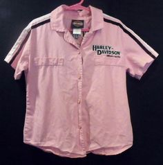 Harley Davidson Motorcycles size 7/8 Pink Black Cotton Button Front Shirt Girls #HarleyDavidson