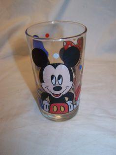 Vintage Mickey , Minnie , Donald Walt Disney Company glass
