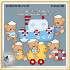 Nautical Toys Teddy Bear Clipart by MagicmakerScraps on Etsy,