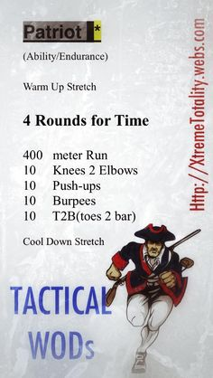 PATRIOT (TACWOD).  Perfect as your 4th of July workout.  Find this workout and more like it in (XT) Xtreme Totality: Tactical WOD s on Amazon.com.