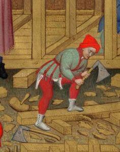 Bedford Hours,Add MS 18850, f.15v, building Noah's Arc, detail