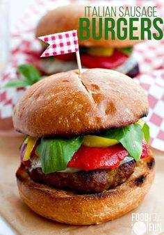 Loaded Italian Sausage Burgers- Grill something different. These burgers are loaded with your favorite Italian toppings like roasted red bell peppers, pepper rings, and fresh basil. #GrillPorkSweeps #AD