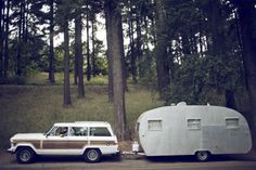 Jeep Grand Wagoneer and vintage travel trailer The Places Youll Go, Places To Go, Vintage Travel Trailers, Vintage Campers, Vintage Caravans, Jeep Wagoneer, By Any Means Necessary, Camping Car, Retro Camping