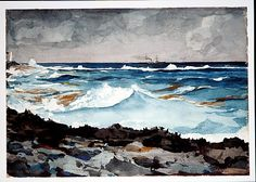 Shore and Surf, Nassau ~ Winslow Homer 1836-1910  1899 Watercolor and graphite on off-white wove paper.