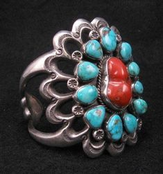 Native American Sandcast Silver Turquoise & Coral Cuff Bracelet by Navajo artist, Mike Platero