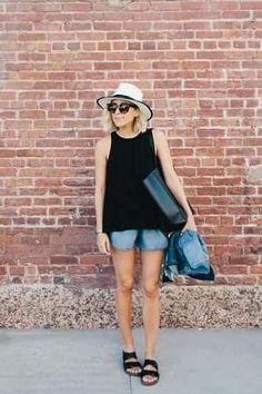 ショートヘアとつば広ハットと黒タンクトップとショートパンツ着こなしコーデ