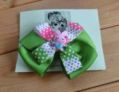 ★ Limey Green ★ Sharing for Maiko Sucich !!! So pretty! So cute!!! Girls Green Hair Bow / Pink Bunny Hair Bow/ Hair Bow Clip/  Girls Hair Accessory/ Girls Fashion/ Ready to Ship
