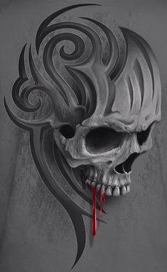 More at Mike Vands 😈 Evil Skull Tattoo, Skull Tattoo Design, Skull Design, Skull Tattoos, Body Art Tattoos, Design Tattoos, Wizard Tattoo, Skeleton Drawings, Badass Skulls