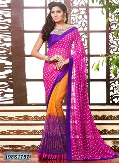 Striking Pink Coloured Georgette Casual saree