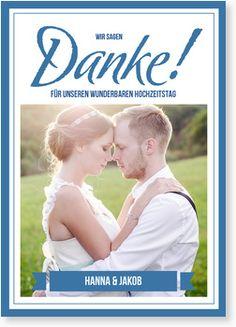 Dankeskarte zur Hochzeit - Großes Ja in Blau