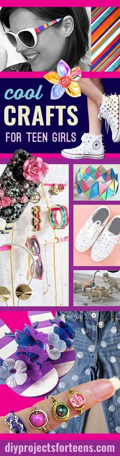 Cool Crafts For Teen Girls - Fun and Easy DIY Projects for the Creative Teen, Tween and Teenager. Girls love these crafty ideas for decor, gifts, fashion, jewelry and room decor.