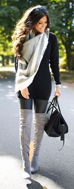 #fall #outfits / gray scarf boots